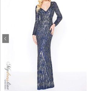 New Mac Duggal Fully Beaded Column Formal Gown